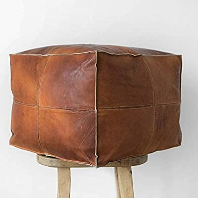 ArtOuarzazate Moroccan Square Leather Pouf Handmade - Comfortable Ottoman & Footrest, Home Gifts, Wedding Gifts, Natural Brow(UNSTUFFED)