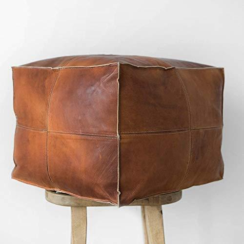 ArtOuarzazate - Puf cuadrado marroquí de piel hecho a mano, cómodo otomano y reposapiés, regalos para el hogar, regalos de boda,...
