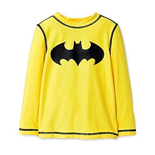 DC Batman Long Sleeve Swim Rash Guard UV Protection/UPF 50+ Swimwear/Swimsuit for Toddler Boys (4T) Yellow