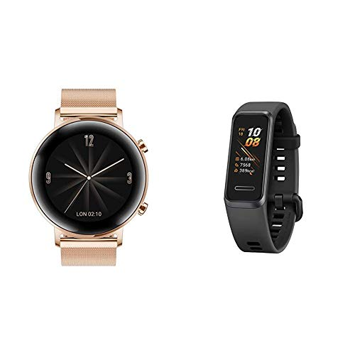 HUAWEI Watch GT 2 Elegant (42 mm), [Exklusiv +5EUR Amazon Gutschein], Refined Gold + Band 4 wasserdichter Bluetooth Fitness- Aktivitätstracker mit Herzfrequenzmesser, Sport Band und Touchscreen