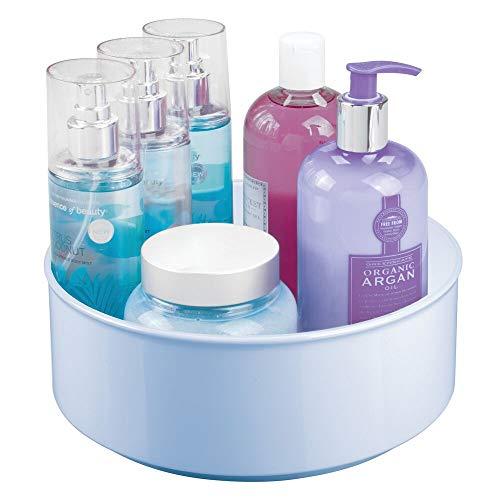 mDesign Drehbarer Drehteller aus Kunststoff – Drehbarer Organizer für unter Badezimmerschränken – für Vitamine, Rasier-Sets, Haarspray, Lotionen, Erste Hilfe – Hellblau
