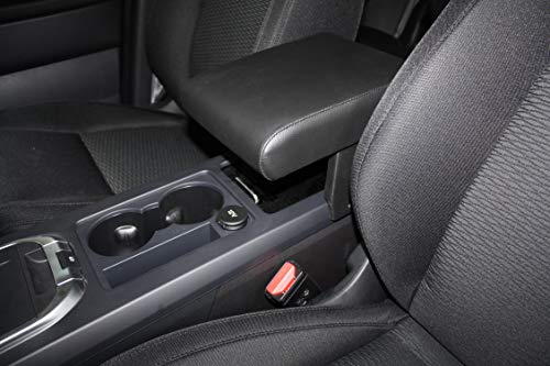 Armrest for Opel Corsa F 2020 with integrated container Filocar Design in black synthetic leather with red stitching.