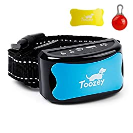 Toozey Anti Barking Dog Collars, 3 in 1 Rechargeable & Adjustable Vibration Collar – Safe & Automatic Education Collar with Light Trailer & Training E -Book
