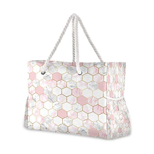 Beach Bag with Cotton Rope Handles, White & Pink Marble Honeycomb Hive Shoulder Bag Beach Tote Bag, Top Zip, Multiple Exterior & Interior Pockets