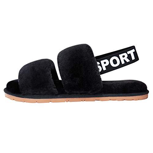 soffici pantofole nere con cinturino da donna comodi cursori pelosi peluche antiscivolo suola rigida scarpe morbide per esterno taglia 8
