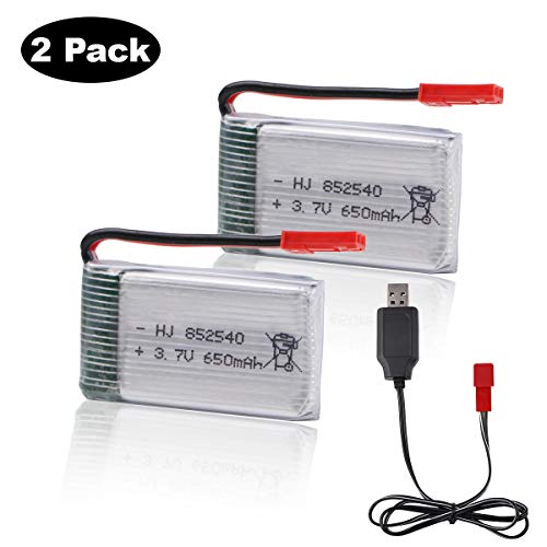 MakerFun 2pcs 3.7V 650mAh Lipo Battery JST Connector with USB Charger for RC Quadcopter Drone