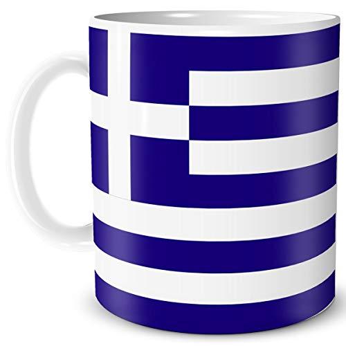 TRIOSK Tasse Flagge Griechenland Länder Flaggen Geschenk Balkan Souvenir Greece für Reiselustige Frauen Männer Arbeit Büro Weltenbummler
