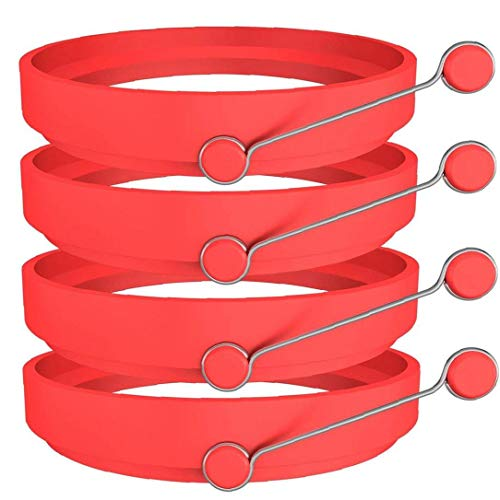 4pcs Creative Egg Rings Practical Silicone Egg Pancake Mold Multi Usage Egg Rings Mold Red