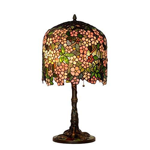ZDHG bedlamp, Tiffany-stijl tafellamp, handgemaakt, glad schilderij lampenkap woonkamer slaapkamer bedlampje antieke sokkel