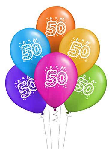 ocballoons 20 Palloncini Compleanno Biodegradabili Colorati in Lattice Kit Festa Made in Italy Addobbi Decorazioni Gonfiabili con Bombola Elio Buon Compleanno (50 anni)