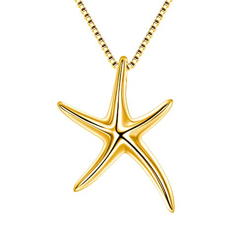 FANZE Starfish Necklace 925 Sterling Silver Polished Lucky Sea Star Pendant Necklace Gift for Women Girls Friends (Gold Tone)