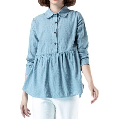 Blusa de Talla Grande Holgada Vintage de otoño para Mujer, Camisa clásica de Manga Larga con Solapa de Color...