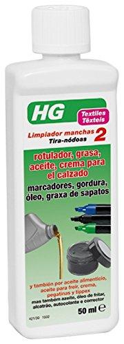HG Limpiador Manchas Rotulador, Grasa, Aceite, Crema para el Calzado - 50 ml