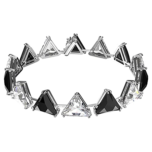 Swarovski Pulsera Millenia, Cristales de Talla Triangular, Negro, Baño de Rodio