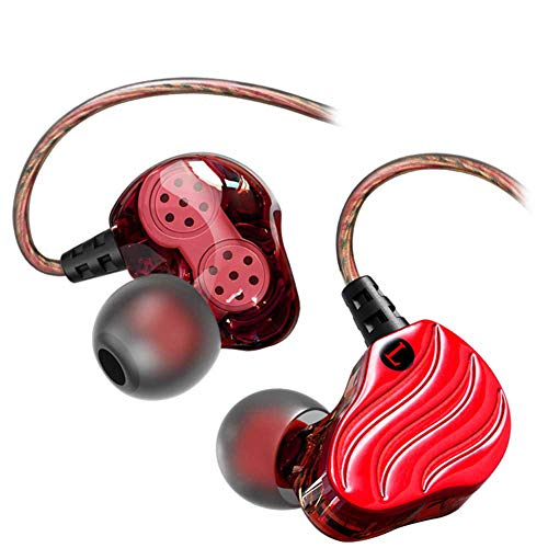 YYZLG Heavy Bass Dual Unit Doppeltes dynamisches Mobiltelefon-Headset Mp3 Music Sports In-Ear-Headset mit Kabel-red