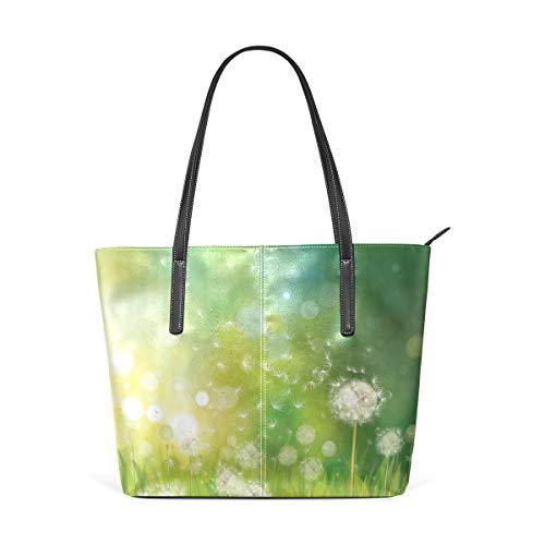 TIZORAX Damen Handtasche mit Pusteblume aus PU-Leder mit Tragegriff