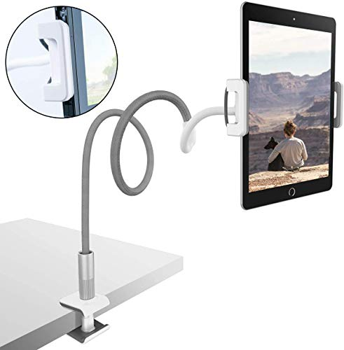 Gooseneck Tablet Holder, Universal Tablet Stand : 360 Flexible Lazy Arm Holder Clamp Mount Bracket Bed for 4.7~10.5' Pad Air Pro mini, Samsung Tab, Phone, Nintendo Switch, more Devices- Gray