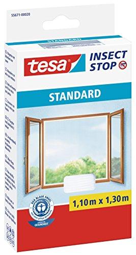 tesa Insect Stop STANDARD Fliegengitter für Fenster - Insektenschutz zuschneidbar - Mückenschutz ohne Bohren - 1 x Fliegen Netz weiß - 110 cm x 130 cm