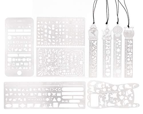 9 Stück/Set Multifunktionales Kreatives Edelstahl-Graffiti/Alphabet/Zahlen-Lineal, hohl, Schulbedarf für Studenten, Handzeichnenvorlage DIY-Tagebuch-Grafikdesign, Lesezeichen, Lineal