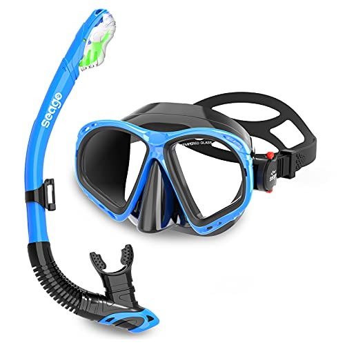 Seago Snorkel Mask Set Snorkeling Gear for Adults Youth Men Women, Anti-Fog 180° View Scuba Diving Mask & Dry Top Snorkel set, Pool Underwater Swim Goggles with Nose Cover No Leak Snorkeling Equipment