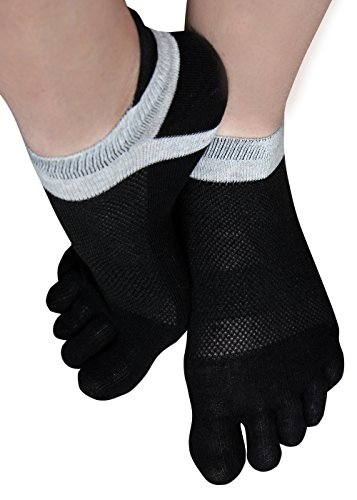 Zehensocken Sneakersocken 5 Zehensocken Fingersocken Toe Socks (43-46, schwarz)
