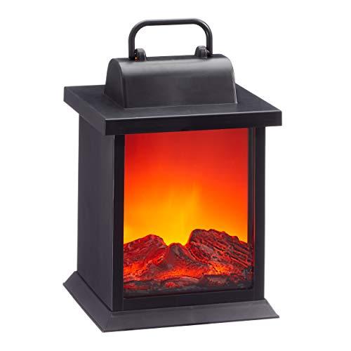 73332 LED Kamin Laterne mit Flammenflackern Dekolaterne Stimmungslicht