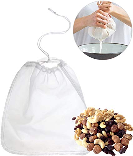 Crimaldo Nussmilchbeutel Set Bio waschbar mit wenig Aufwand eigene Nussmilch herstellen | Feinmaschiges Filtertuch inkl. wiederverwendbaren Teebeutel aus Hanf + eBook mit leckeren Nussmilchrezepten.