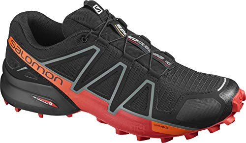 Salomon Herren Trail Running Schuhe, SPEEDCROSS 4, Farbe: Schwarz (Black/Goji Berry/Red Orange), Größe: EU 42 2/3
