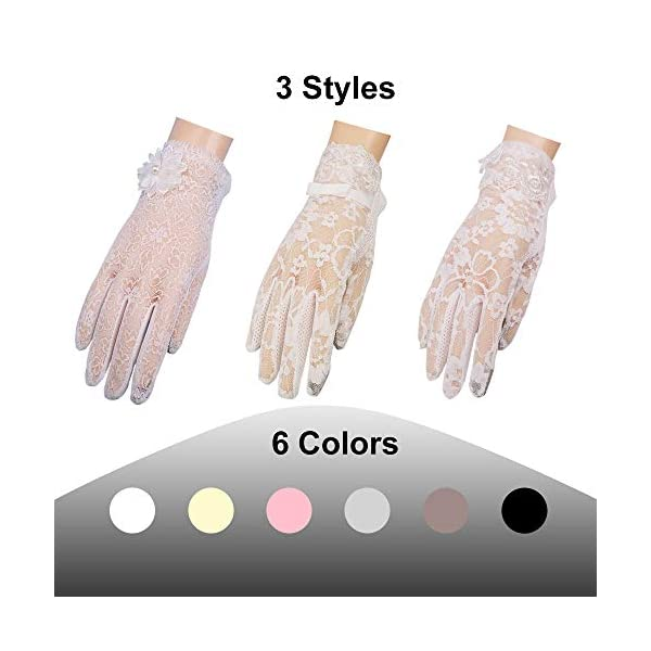 MoonEver Women's Short Elegant Lace Gloves Touch Screen No-Slip Summer Gloves