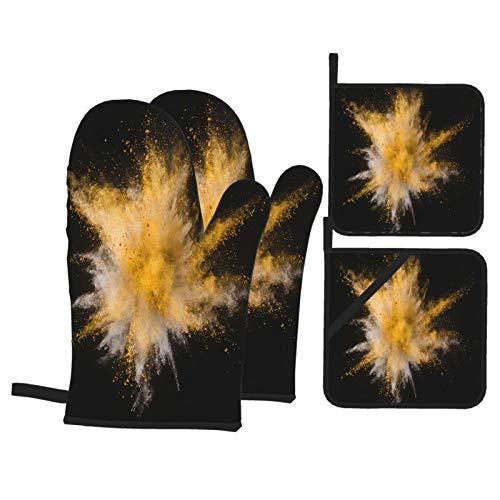 Juego de 4 Guantes y Porta ollas para Horno Resistentes al Calor Explosión de Polvo Amarillo Aislado en Negro para Hornear en la Cocina,microondas,Barbacoa