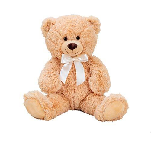 Lifestyle & More Teddybär Kuschelbär Braun mit Schleife 56 cm groß Plüschbär Kuscheltier samtig weich - zum liebhaben