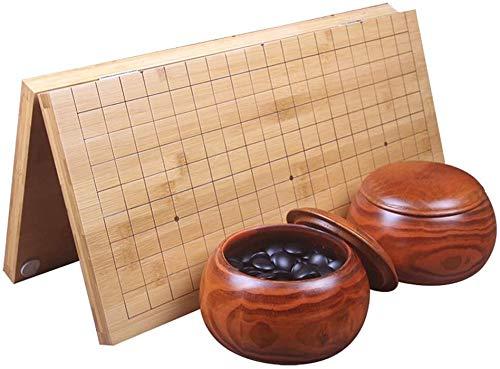 SHBV Juego de Tablero de Juego Classic Go con Dos go Pot y Tablero Plegable de bambú Go Chess Go Chess Game Regalos para niños y Adolescentes (Color: A)