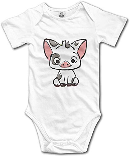 Baby Bodysuit Moana Pua Pig Jumpsuit Outfits for Boys and Girls, White, 0-6 Months