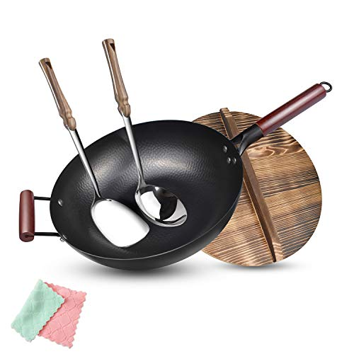 Carbon Steel Wok Flat Bottom,Woks and Stir Fry Pans Nonstick with Spatulas & Spoon,Uncoated Cooking Wok Pan with Wooden Handle,Chinese Pans and Pots for Electric, Induction and Gas Stoves