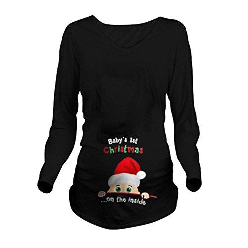Camiseta de maternidad para mujer, de ManManman, para bebés de 1ª Navidad Negro Manga larga, negro L