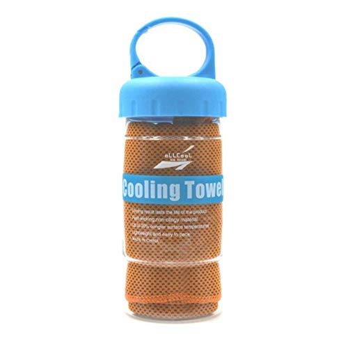 LASISZ Instant Ice Cooling Towel with Towel Bottle for Cycling Running Jogging Gym Outdoor Sports Heat Relief Reusable Cool Towel,Warn Orange