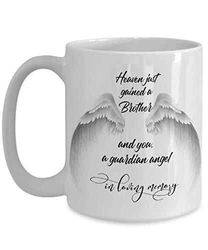 Verlust von Bruder Gedenkgeschenken für Männer Frauen Schutzengel Flügel Trauer Kaffeetasse Trauernde Geschwister Tod Sympathie in Himmel Beerdigung Beileid Tasse