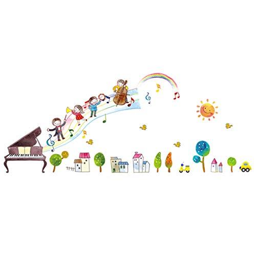 Bloemen Vlinders Bomen Bedel Muurstickers Schattige Dieren Verwijderbare Behang Huisdecoratie PVC muurschildering Baby Jongens Meisjes Kids Slaapkamer Keuken Kwekerij Kamer Decals Happy Piano Children