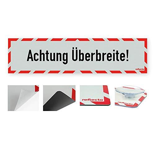 """reflecto Hinweisschild """"Achtung Überbreite!"""" in rot-weiß und reflektierend (RA1/A) - Verschiedene Ausführungen – 800 x 200 mm (magnetisch)"""