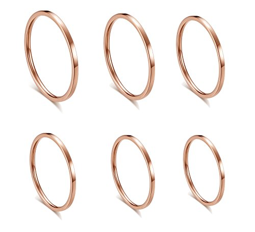ALEXTINA Women's 6 Pieces Stainless Steel 1MM Rose Gold Thin Midi Stacking Rings Plain Band Comfort Fit Size 4 to 9