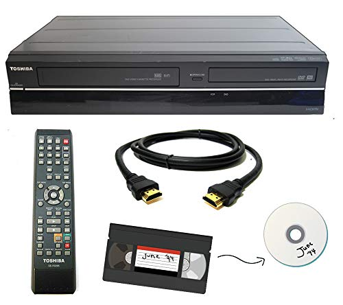 small From Toshiba VHS combo VCR to DVD recorder, remote control, HDMI