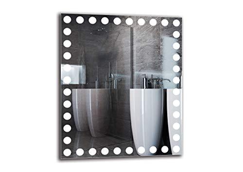 Espejo LED Premium - Dimensiones del Espejo 50x60 cm - Espejo de baño con iluminación LED - Espejo de Pared - Espejo de luz - Espejo con iluminación - ARTTOR M1CP-57-50x60 - Blanco cálido 3000K