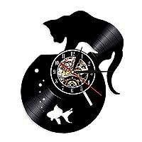 猫ファンのためのビニールレコード壁時計-面白いペットのシルエットユニークなアートデザイン-子供、大人、男性と女性のためのエキサイティングな客室の装飾のアイデア