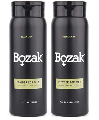 Bozak Light Body Powder for Men - 4 oz. Talc-Free, Absorbs Sweat, Stops Chafing, Keeps Skin Dry - Antifungal, Jock Itch Defense Deodorant - 2 pack