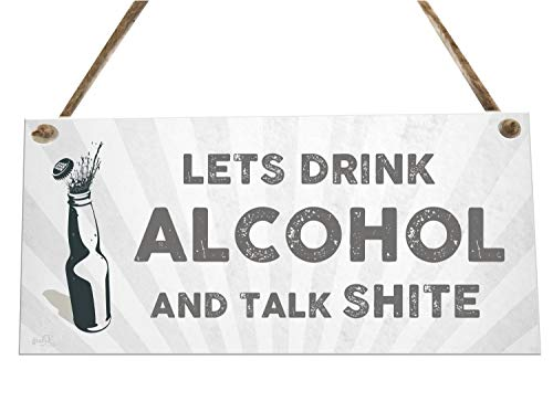the sticker studio ltd Lets Drink Alcohol Quote Funny Bar Novelty Wooden Plaque Sign Gift fcp56