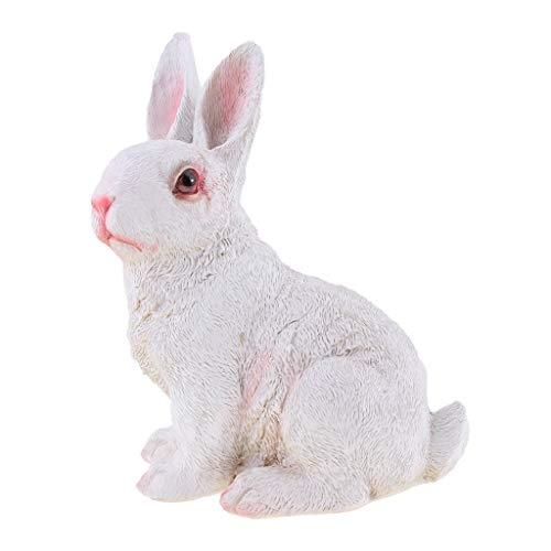 MagiDeal Lovely Resin Rabbits Home Garden Animals Statue Fairy Garden Ornament - K, as described