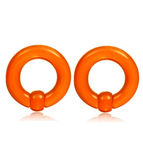 Homeilteds 2 Unids/Lote Acrílico Tamaño Grande Captive Bead Anillo Tunnel Tunnel Plug Expander Gauges Nared Septum Anillo Plugs (Main Stone Color : 8mm, Metal Color : Orange)