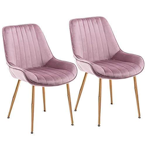 ZCXBHD Set Of 2 Dining Chairs Velvet Fabric Ergonomics Soft Backrest Chair Gold Metal Feet Retro Side Chairs Office Living Room Kitchen & Lounge (Color : Purple)