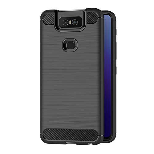 AICEK Compatible ASUS Zenfone 6 ZS630KL Hülle, Schwarz Silikon Handyhülle für ASUS Zenfone 6 ZS630KL Schutzhülle Karbon Optik Soft Case (6,4 Zoll)