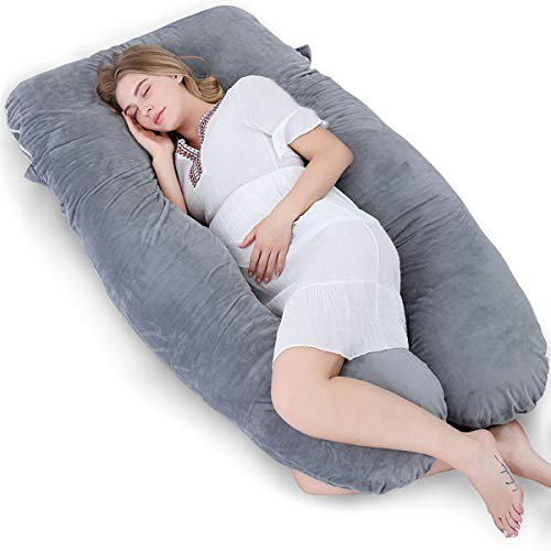 Meiz Pregnancy Pillow U Shaped, Full Body Maternity Pillow, Pregnant Pillows for Sleeping with Zipper Velvet Cover (60 Inch, Gray)